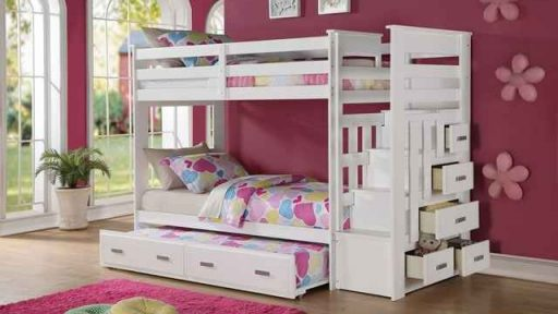 """Bianca Bunny"" White Twin over Twin Bunk Bed w/ Staircase Storage and Trundle"