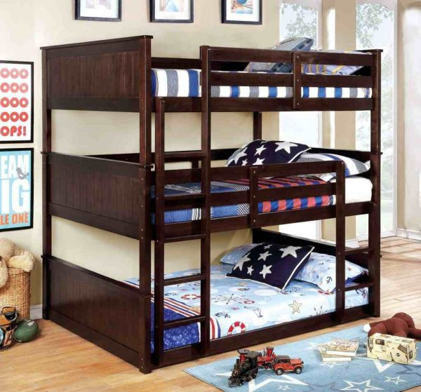 Full Triple Decker Bunk Bed in espresso- kidsroom.vip
