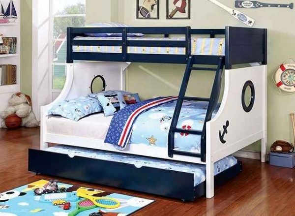 Blue Twin Full Bunk Bed with Trundle - kidsroom.vip