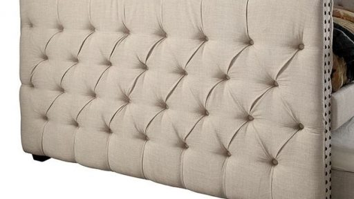 """""""Colleen Camel"""" Tufted Ivory Daybed w/Trundle – Twin and Full"""