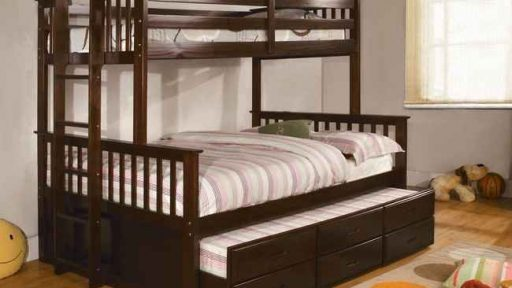 """Dingwall Devyn"" Twin over Full Bunk Bed with Trundle – Espresso and Oak"