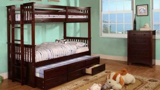 """Dingwall Devyn"" Twin over Twin Bunk Bed with Trundle – Espresso and Oak – SOLD OUT, NO ETA"