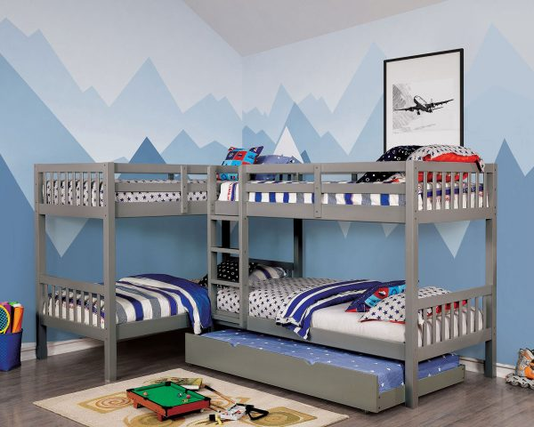 grey Quadruple Twin Bunk Bed with Trundle - kidsroom.vip