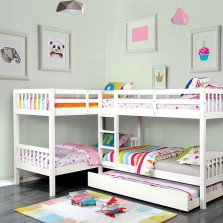 """Hannah Quadruple"" Twin Bunk Bed with Trundle – 3 Colors"