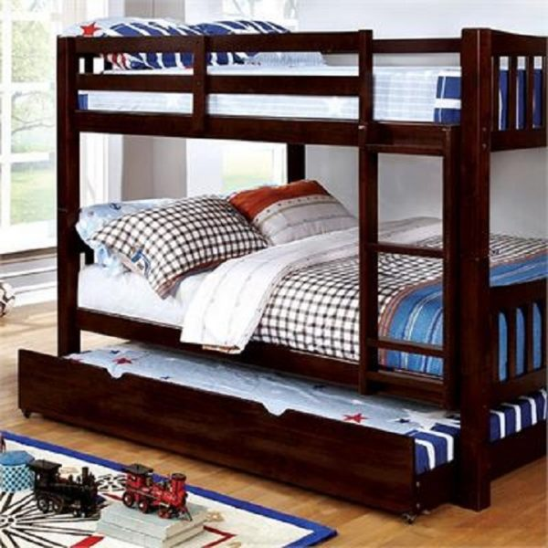 Espresso Full over Full Bunk Bed with Trundle- kidsroom.vip