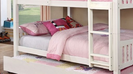 white Full over Full Bunk Bed with Trundle- kidsroom.vip