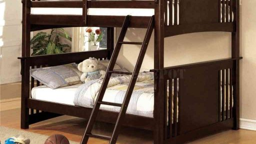 espresso Full over Full Bunk Bed With Stairs