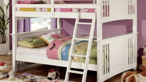 White Full over Full Bunk Bed With Stairs