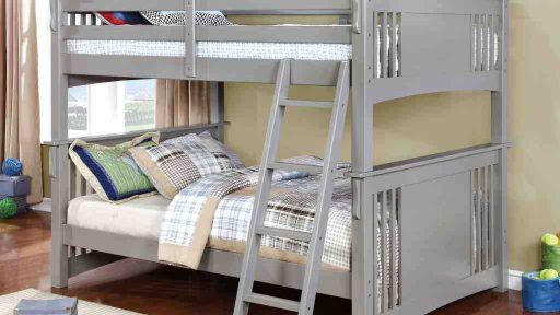 Gray Full over Full Bunk Bed with Stairs- kidsroom.vip