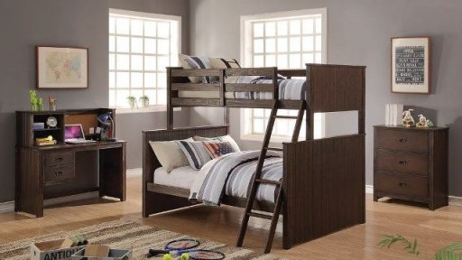 """Prince Junior"" Antique Charcoal Brown Twin/Twin and Twin/Full Bunk Bed Collection"