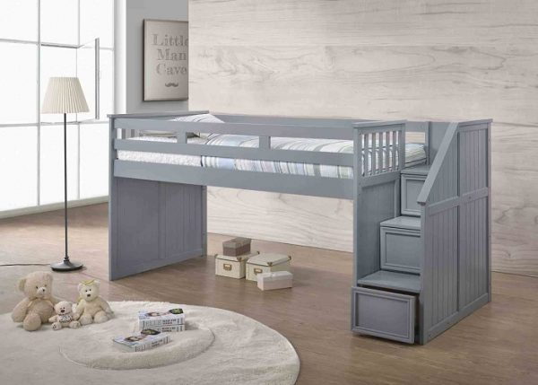 Full Junior Loft Bed with Step Drawers- kidsroom.vip