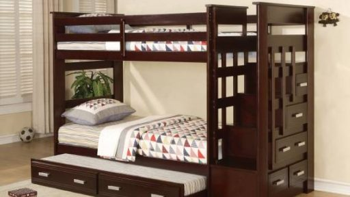 """Friendly Kasper"" Espresso Twin over Twin Bunk Bed w/ Staircase Storage and Trundle"