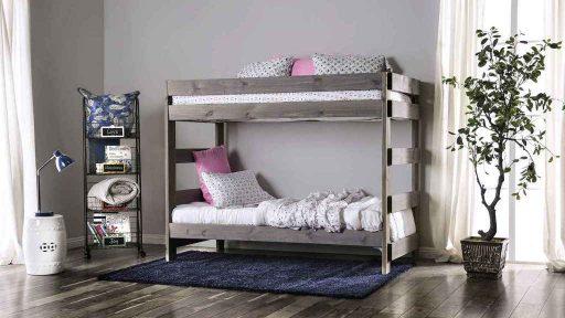 Farmhouse Grey Twin Over Twin Bunk Bed- kidsroom.vip