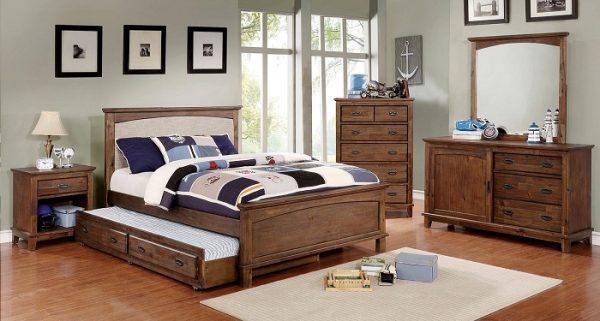 Padded Headboard Bedroom Set with trundle- kidrsoom.vip