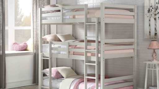 """Lulu the Chipmunk"" Light Grey Twin Triple Decker Bunk Bed – SOLD OUT, NO ETA"