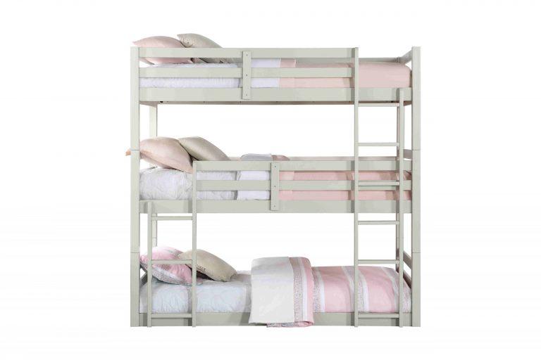 Light Grey twin Triple Decker Bunk Bed- kidsroom.vip