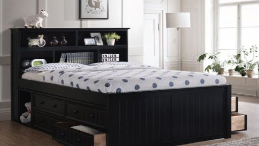 Black Full Size Captains Bed with Storage Drawers- kidsroom.vip