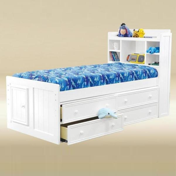 White Bead Board Captains Bed – Twin- kidsroom.vip