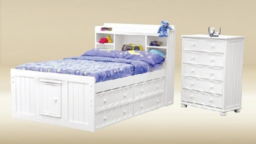 White Full Size Captains Bed with Storage Drawers- kidsroom.vip