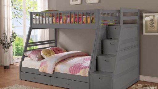 """Noble Nala"" Grey Twin Full Staircase Bunk with Trundle Drawers"