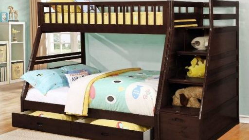 """The Emma Noah"" Twin Full Bunk Bed with Staircase Storage and Drawers – 2 Colors – LOW INVENTORY!"