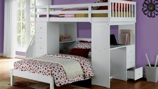 """Olivia Otter"" White Twin Loft Bed with Bookcase Ladder"