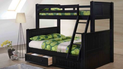 """Angel Phoenix"" Twin Full Bunk Bed w/ Storage – 5 Colors"