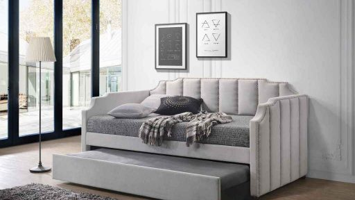 """Ronen River Dolphin"" Modern Grey Fabric Padded Twin Daybed and Trundle"