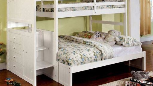 White Twin Over Full Bunk Bed With Trundle- kidsroom.vip