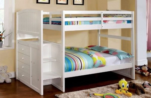 White Twin Bunk Beds With Trundle- kidsroom.vip
