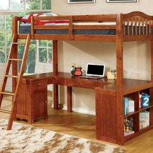 KidsRoom oak Twin Loft Bed Workstation- kidsroom.vip