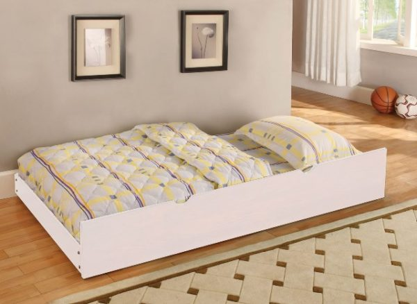 white bunk beds trundle - kidroom.vip