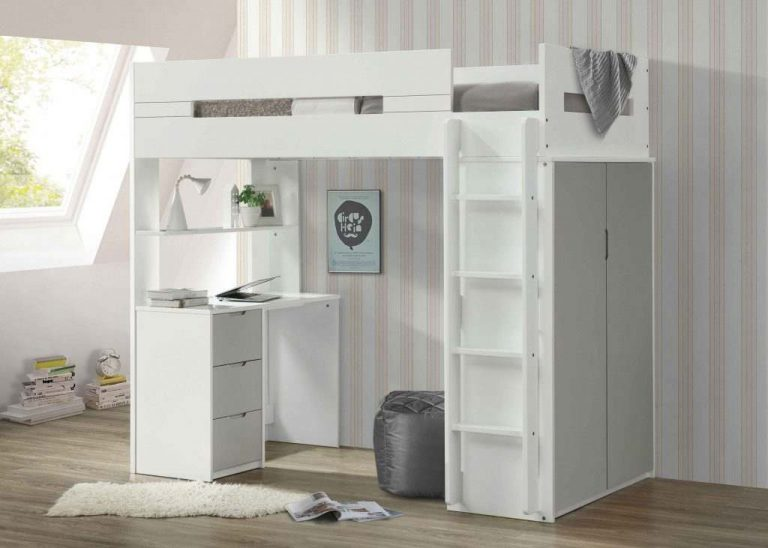 White Twin loft bunk bed with desk, stairs- kidsroom.vip