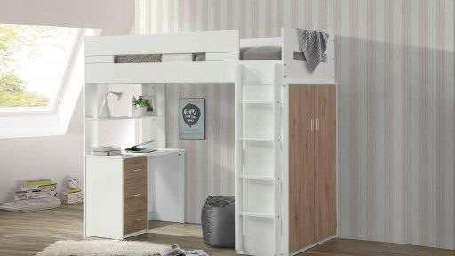 Twin loft bunk bed with desk, stairs, and wide storage-kidsroom.vip
