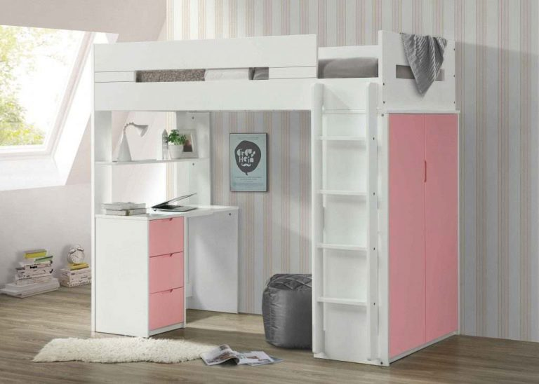Twin loft bunk bed with desk, stairs, and wide storage- kidsroom.vip