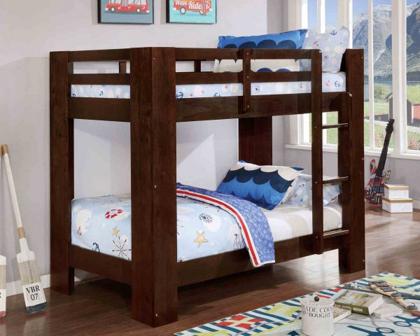 Brown twin over twin bunk bed with storage- kidsroom.vip