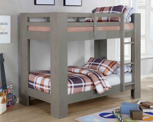 grey twin over twin bunk bed with storage- kidsroom.vip