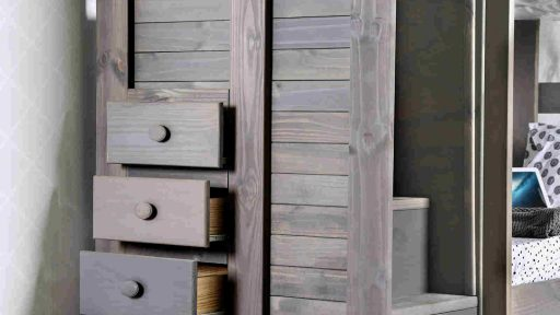 Grey twin bunk beds with Stairs and Drawer storage - kidsroom.vip