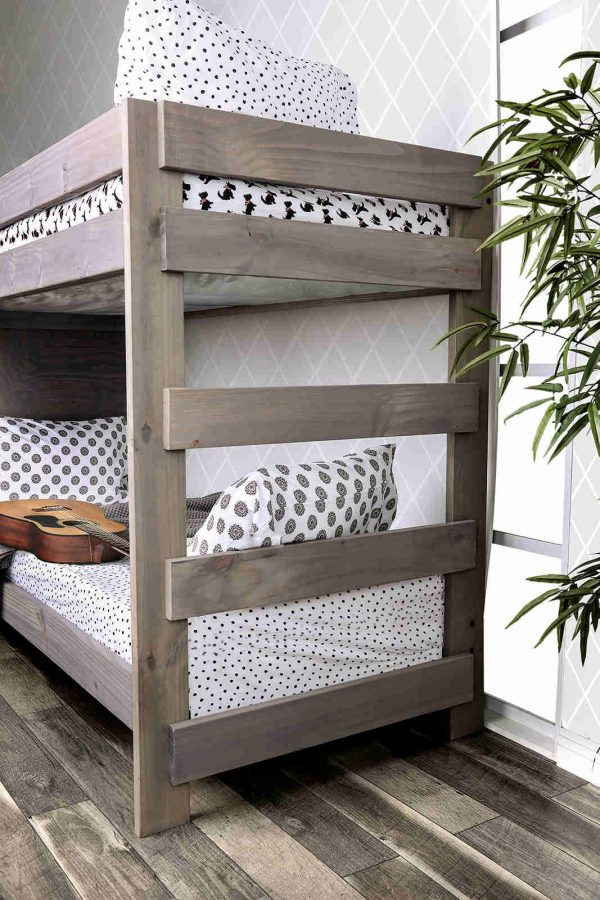 Grey twin bunk beds with Stairs and storage - kidsroom.vip