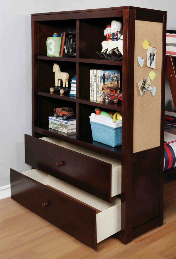 bunk bed with note board-bookcase-drawers - kidsroom.vip