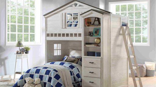 WHITE LOFT BED-TWIN LOFT BED- KIDSROOM.VIP