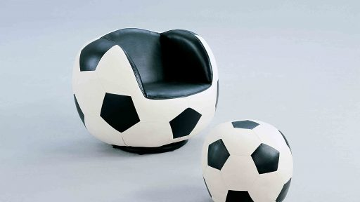 Soccer All Star Chair Set and Ottoman whte black- kidsroom.vip