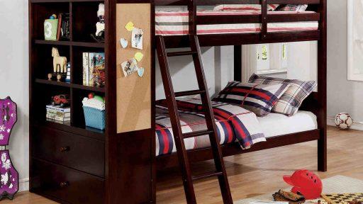 brown bunk bed with bookcase storage - kidsroom.vip