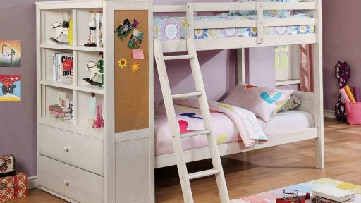 """Lucky Shamrock"" Twin Over Twin Bunk Bed with Bookcase Storage – 2 Colors"