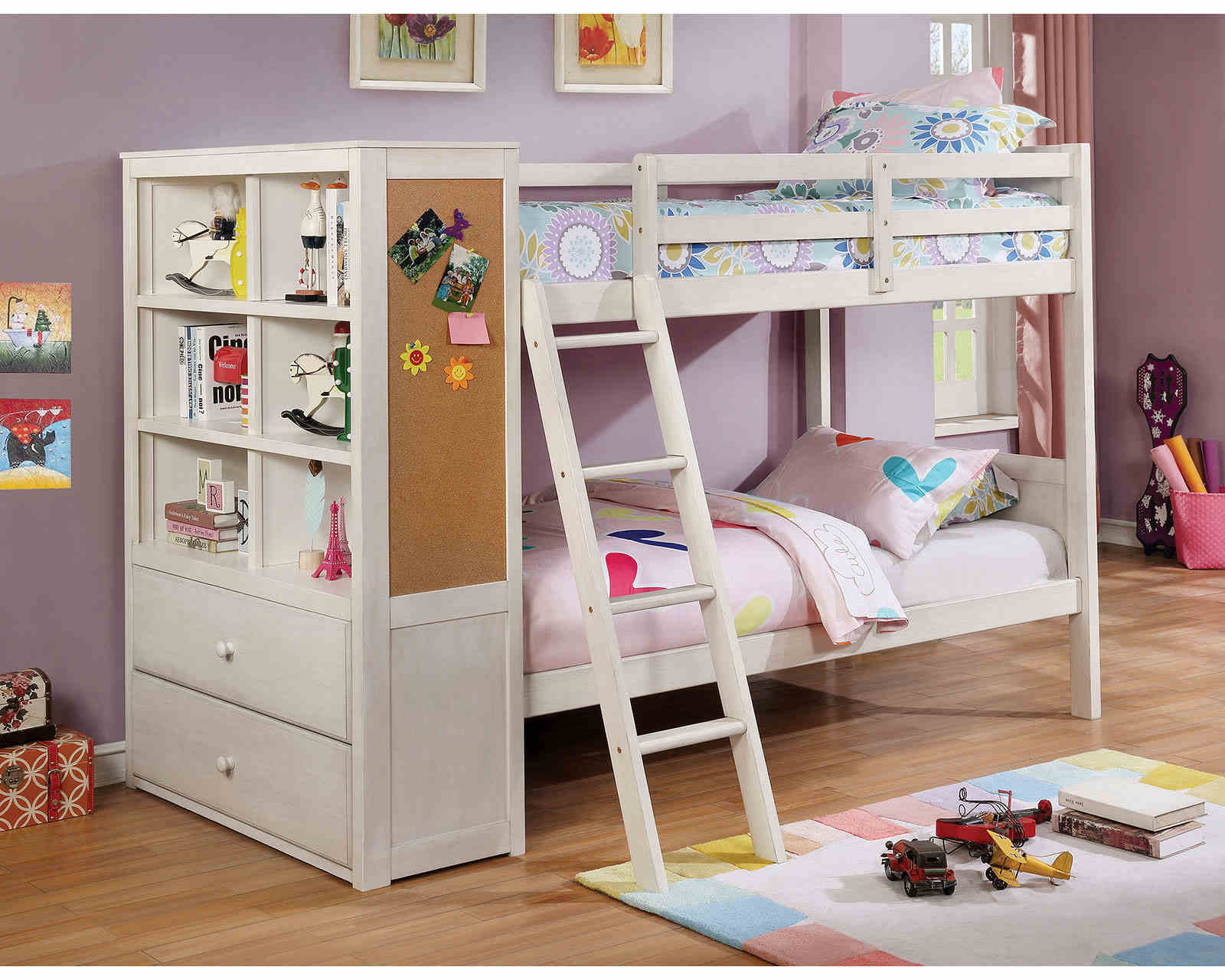 bunk bed with storage-bookcase - kidsroom.vip