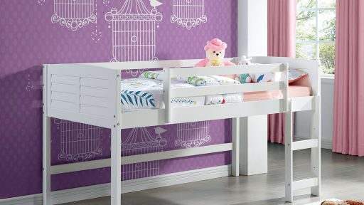 """""""My First Loft Bed"""" White Twin Loft Bed Set"""