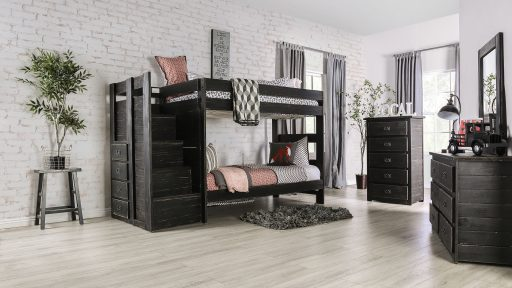 """""""Kensington Tractor"""" Farmhouse Black Twin over Twin Bunk Bed with Staircase Storage"""