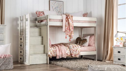 """""""Kensington Tractor"""" Farmhouse White Twin over Twin Bunk Bed with Staircase Storage"""