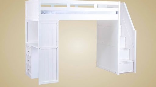 """Debbie Diamonds"" Twin Loft Bed w/Step Drawers & Desk – 3 Colors"